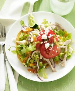 chicken-tostadas-with-avocado-sauce